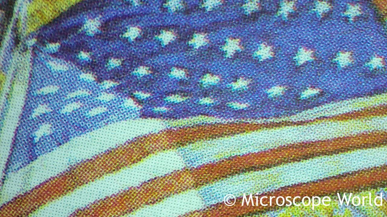 Stamp image under microscope
