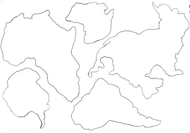 Контурные изображения материков для распечатки