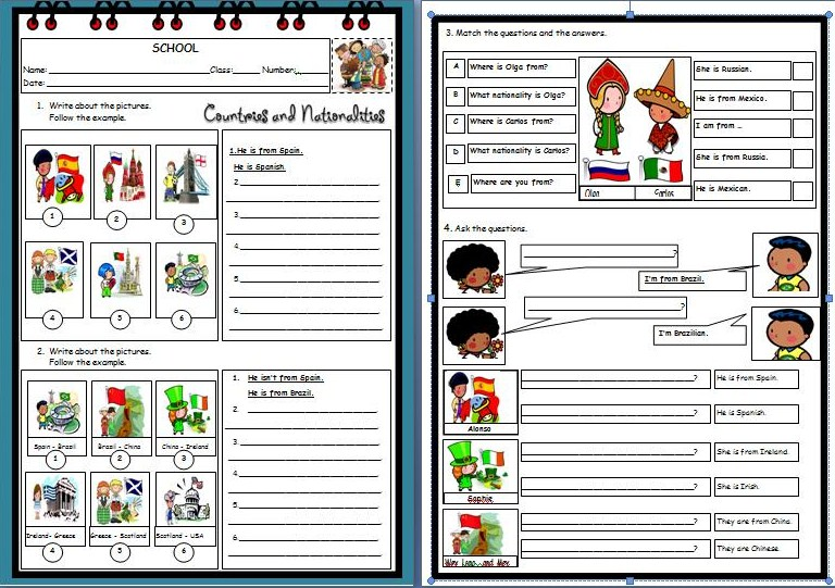 ENGLISH SPOT: Countries and Nationalities: Worksheet