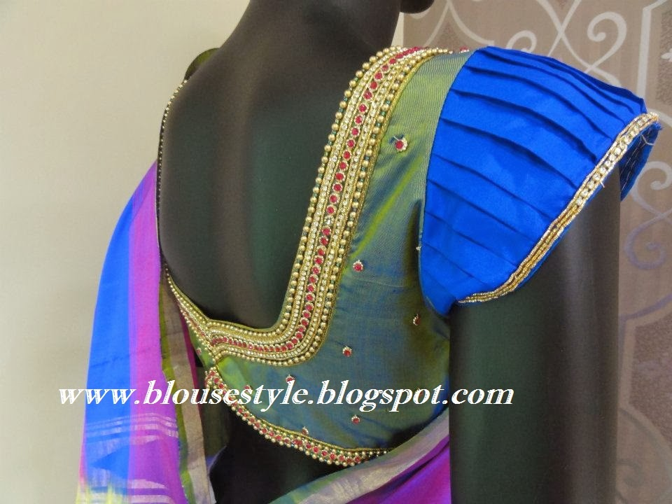 latest pleated designer blouse sleeve work