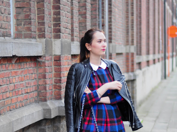 Tartan dress & leather jacket