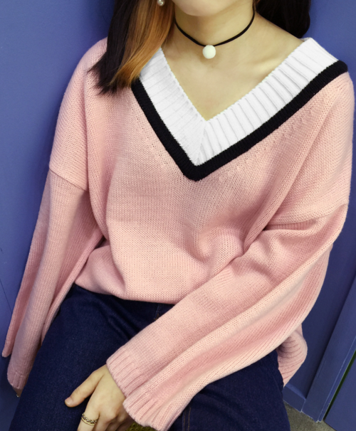 Striped Wide V-Neck Knit Sweater