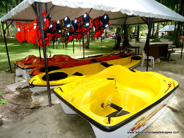 kayaks_and_boat for rent at Caluwayan Resort
