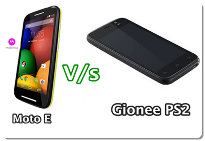 Compare Motorola Moto E and Gionee PS2 Specifications and Price