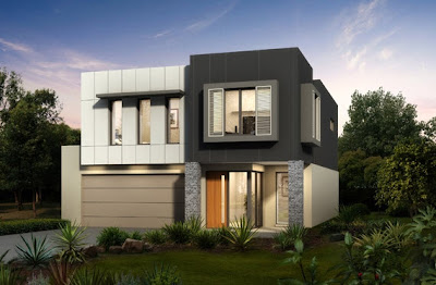 diseo de fachada de una casa de dos pisos en forma de cubos