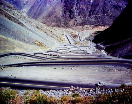 Los Caracoles Pass in Andes.