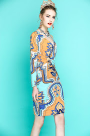2018 Three Quarter Sleeve Honey Yellow Blue Print OL Dress