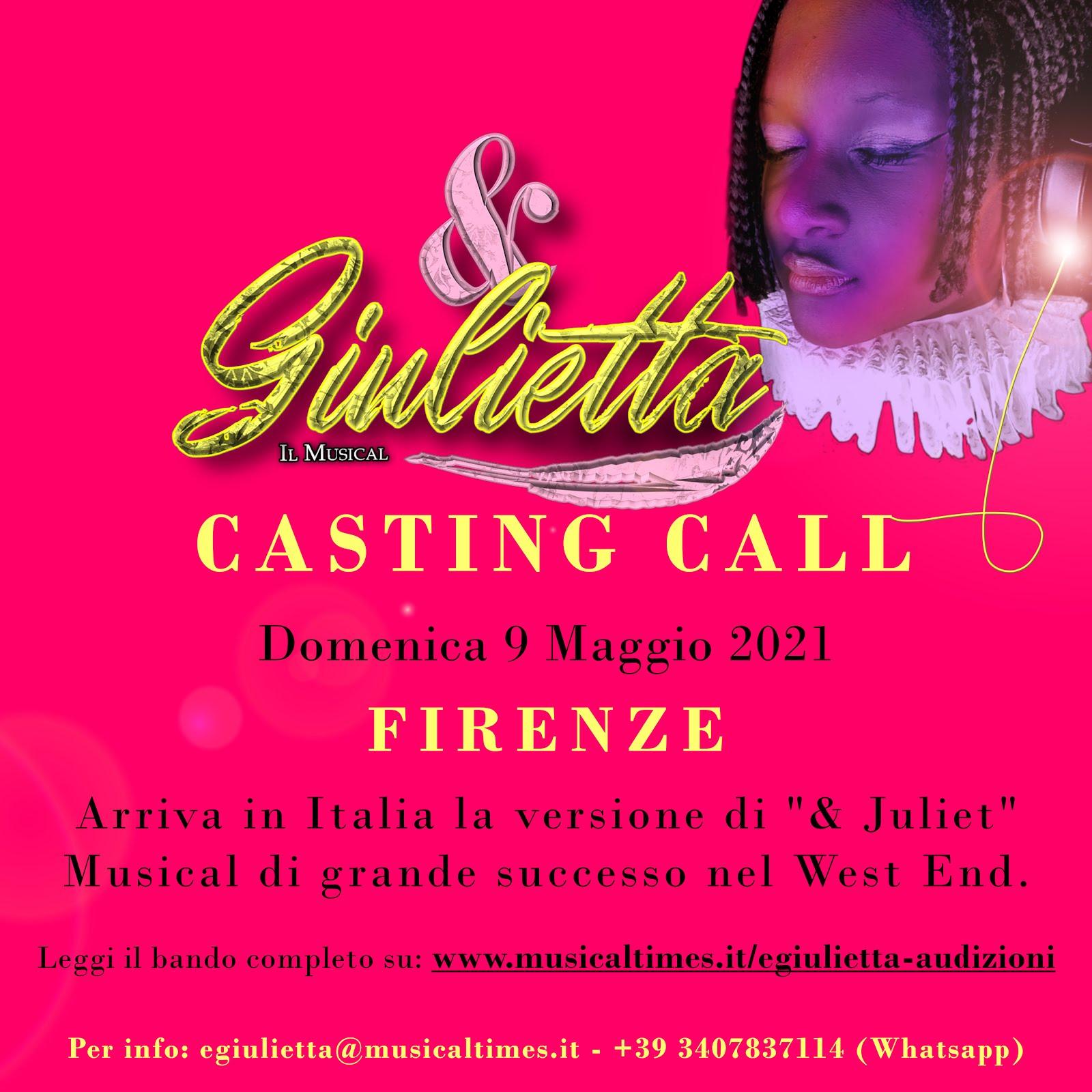 """CASTING CALL PER LA NUOVA PRODUZIONE ITALIANA DI """"E GIULIETTA - IL MUSICAL"""""""