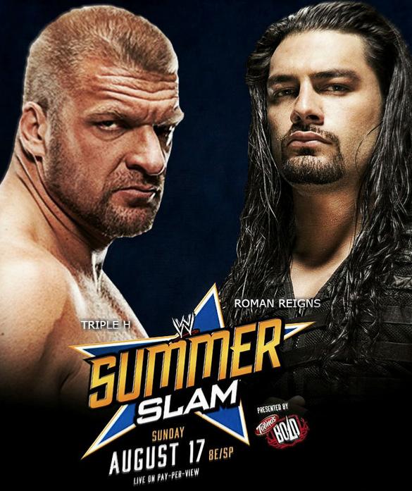 Roman Reigns y triple h en poster de summerslam, poster alternativo de summerslam