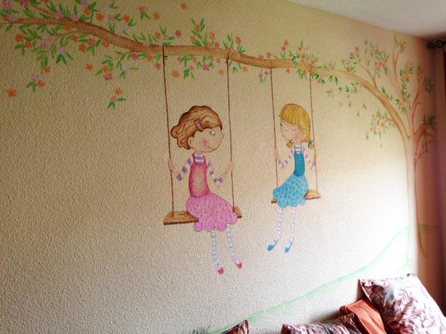Decopared mural arbol y ni as en columpio - Murales para ninas ...