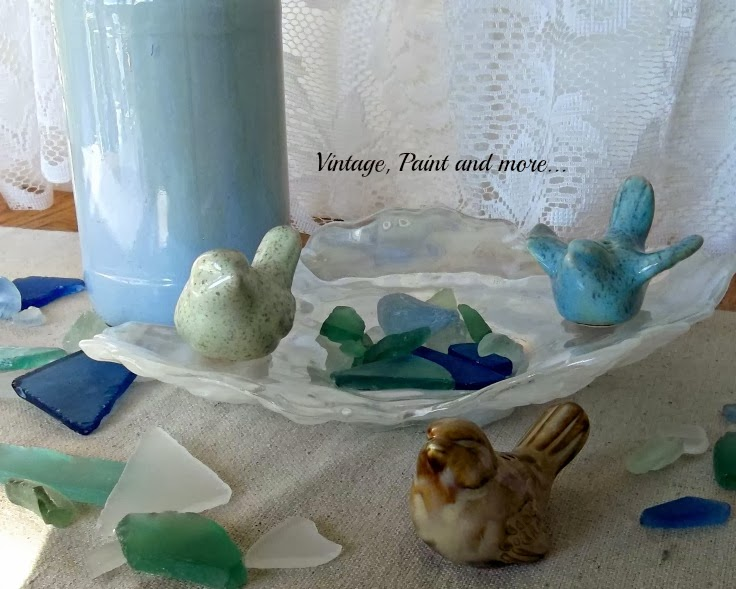 Waiting for Spring - image of ceramic birds with sea glass
