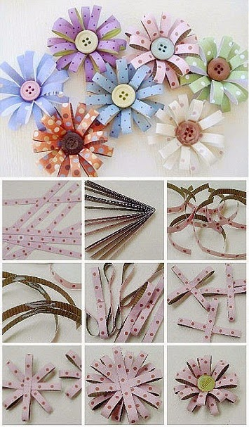 Diy paper button flower diy crafts tutorials for Diy paper crafts tutorials