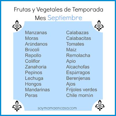 frutas vegetales de temporada septiembre