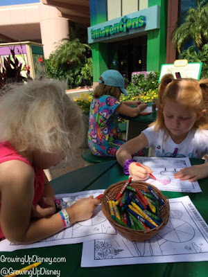 Children coloring at Epcot International Flower and Garden Festival