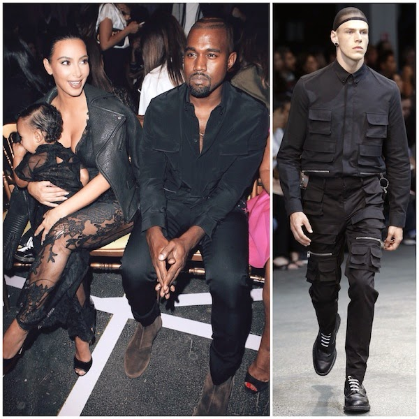 Kanye West wears Givenchy menswear Spring Summer 2015 multi pocket shirt at Paris Fashion Week 28th September 2014