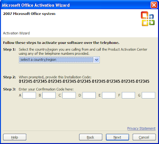 microsoft office home and student 2007 activation wizard confirmation code