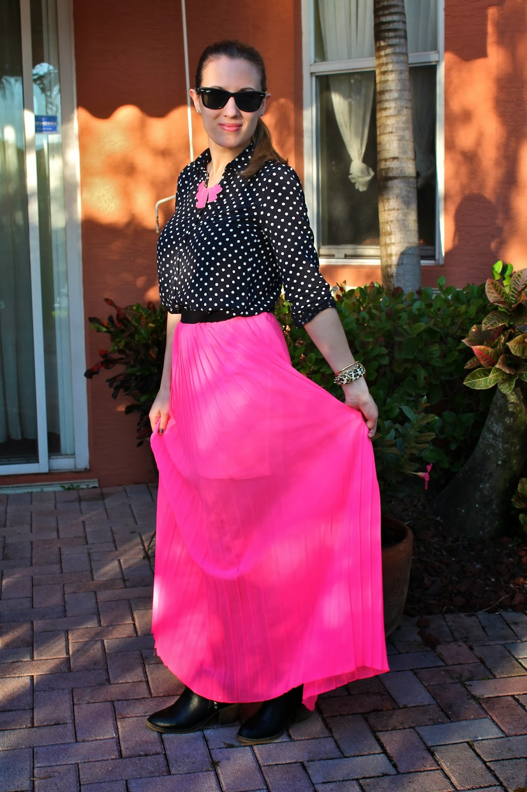 H&M, Kate Spade, Nordstrom, maxi skirt, feminine, tailored, neon, Miami, Palm Beach, fashion, style, look book, Betsey Johnson, Ray-Ban