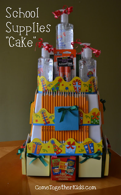 School Supplies Cake ~ awesome teacher gift idea