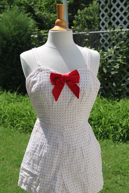 White and red playsuit