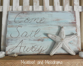 come sail away sign with starfish