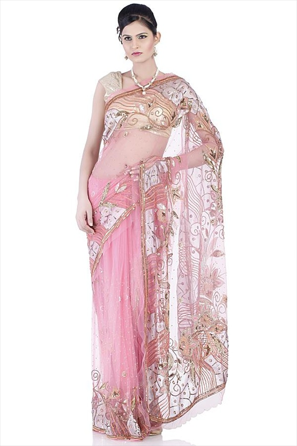 Strawberry Pink Net Saree
