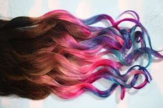 Dip dye hair rainbow colour