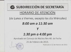 HORARIO DE ATENCIÓN CONTROL DE ESTUDIOS