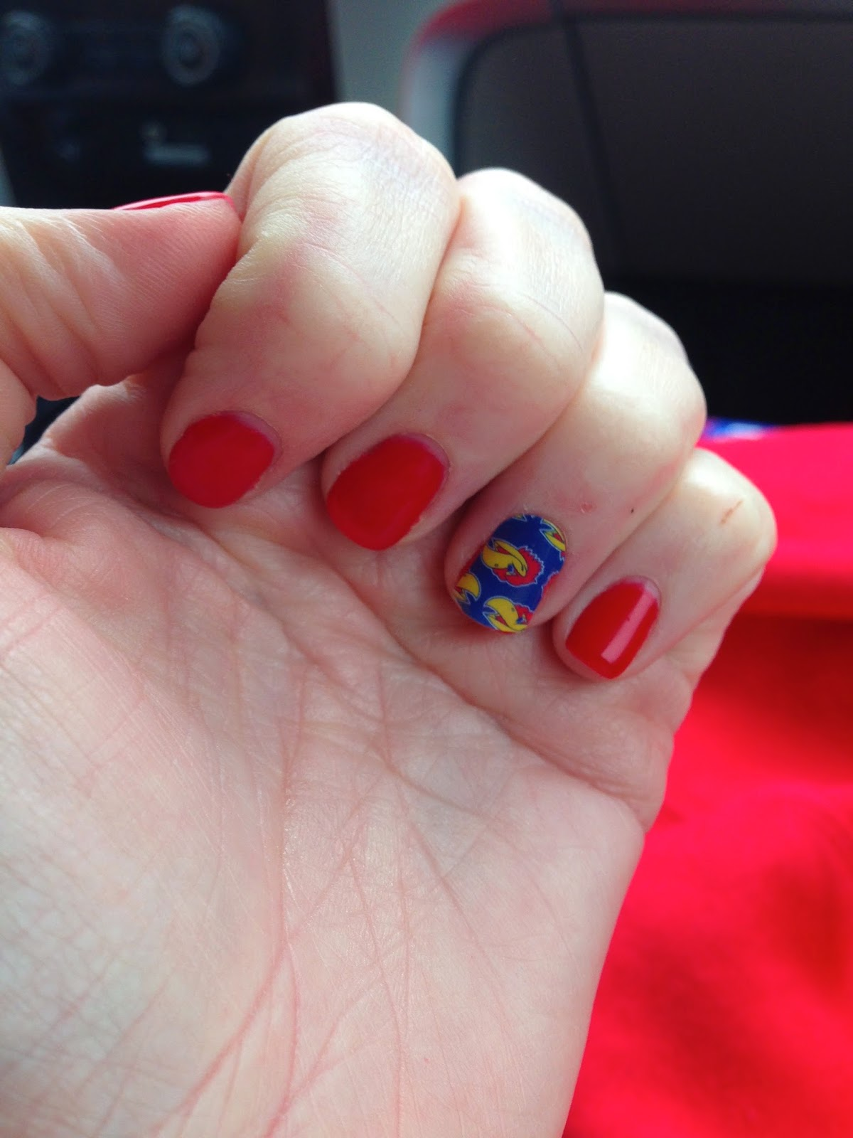 KU, OPI Big Apple Red, Jayhawk nails
