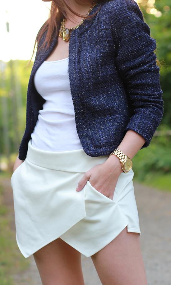 Here & Now: Zara skort + Tweed Blazer