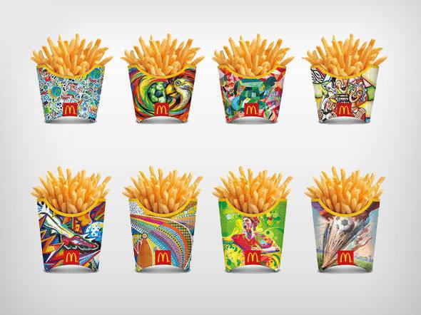 Embalagem copa do mundo nas batatas fritas do Mcdonalds