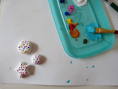 How to make salt dough buttons, painting and adding polka dots and stripes to handmade salt dough buttons