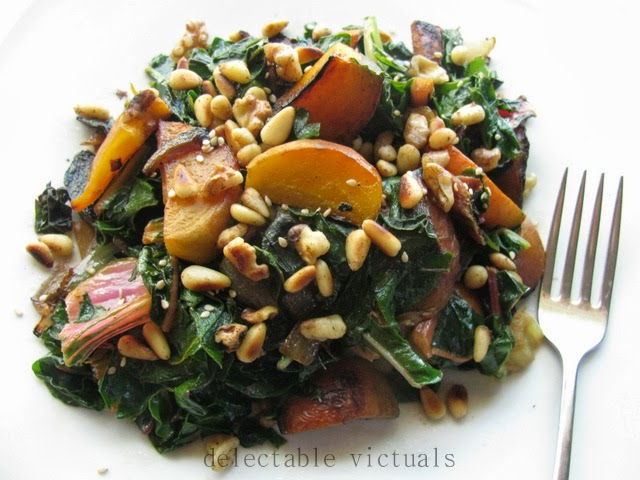 Gold Beets Chard salad Toasted Walnuts and Pine Nuts