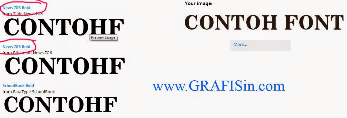 Hasil Mencari Font dengan WhatTheFont