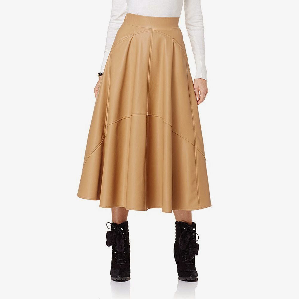 Faux Leather Long Skirt - Dress Ala