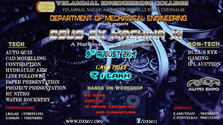 Velammal Engineering College Symposium DEUS EX MACHINA 11 Events list ...
