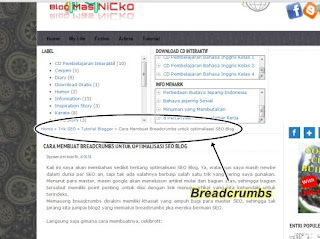 Breadcrumbs di blogger