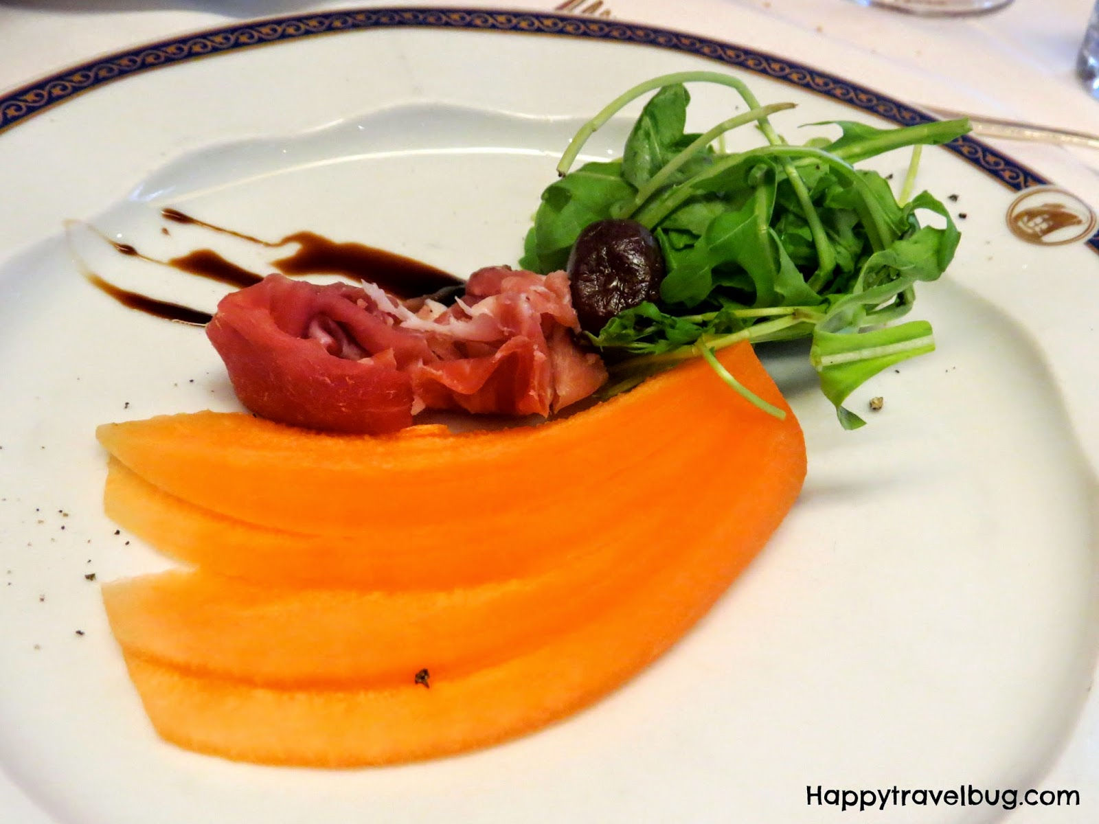 Proscuitto with melon and arugula from dinner on our Holland America cruise