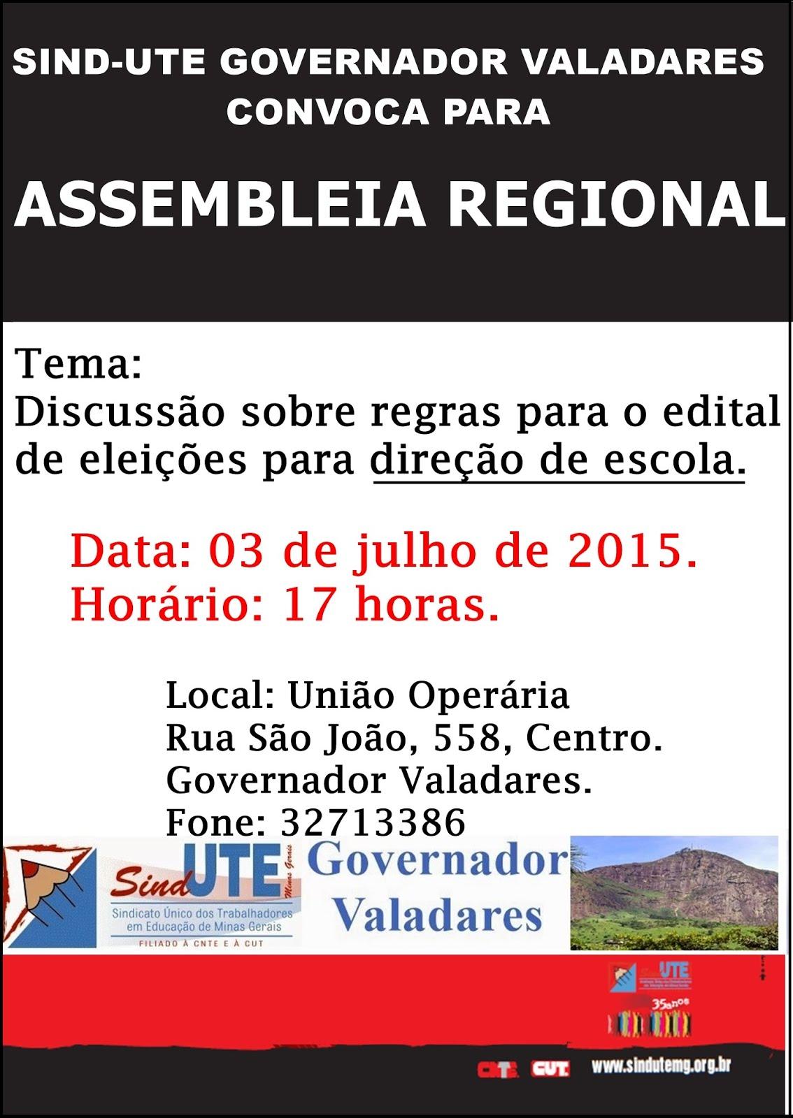 ASSEMBLEIA REGIONAL DIA 03 DE JUNHO