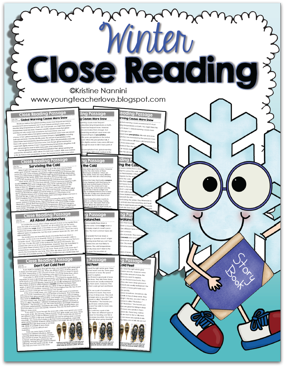 Winter Close Reading Passages, Text-Dependent Questions & More- Young Teacher Love by Kristine Nannini