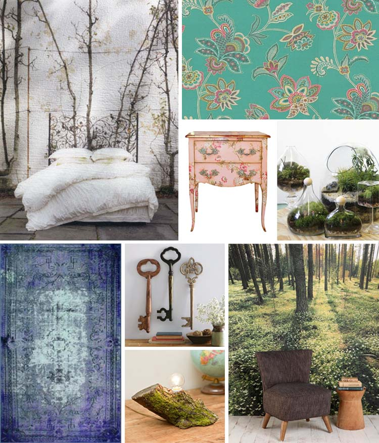 out an image and create an interior styling mood board inspired by that image  To start off with I have styled a bedroom inspired by The Secret Garden