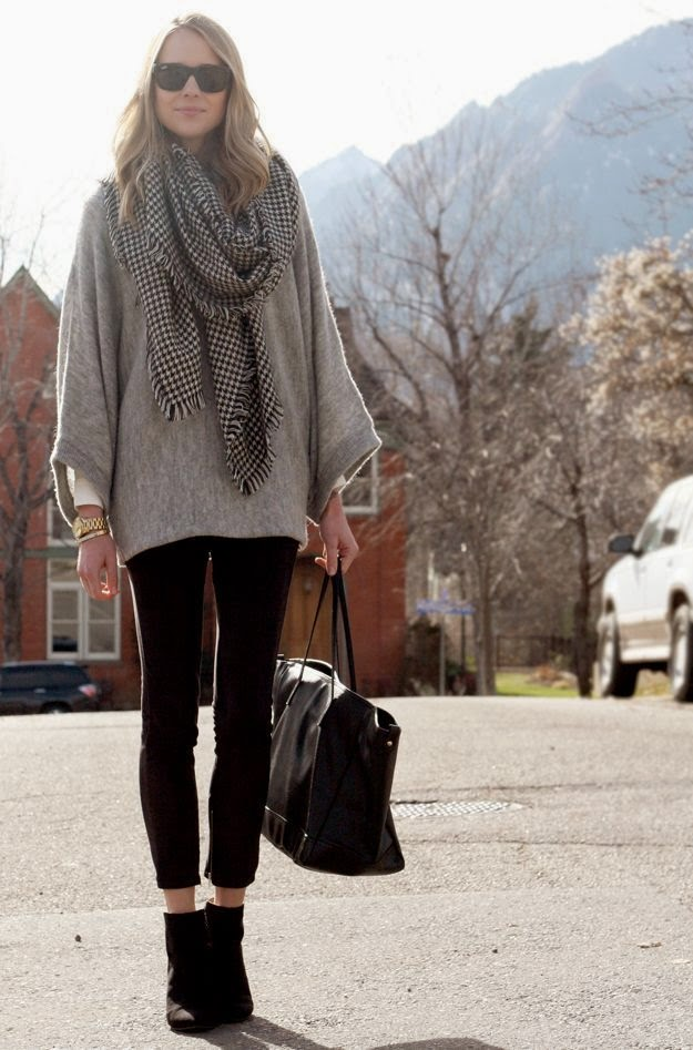home women fashion fall outfit grey poncho sweater black suede