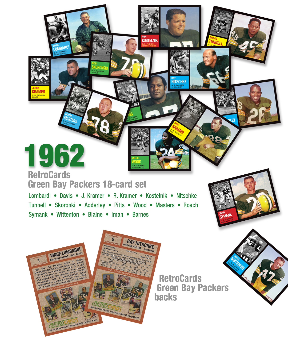 "1962 Topps RetroCards Willie Davis Lombardi Kramer Ron Jerry Adderley Wood Skoronski Symank Kostelnik nitschke tunnell pitts wood master roach wittenton blaine iman barnes custom retro cards ""cards that never were"""