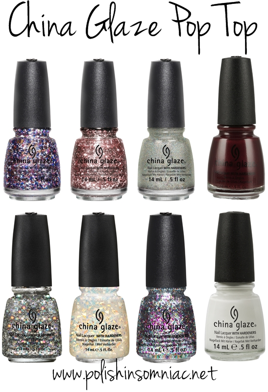 China Glaze Pop Top - these are all repromotes, click through to find the original collection