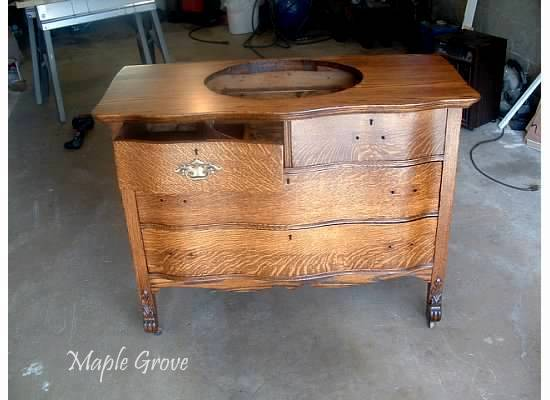 Any time I have seen a dresser converted to a sink vanity, the top drawers  are usually eliminated, and the drawer fronts are permanently attached as  false ... - Maple Grove: Antique Dresser Turned Vanity