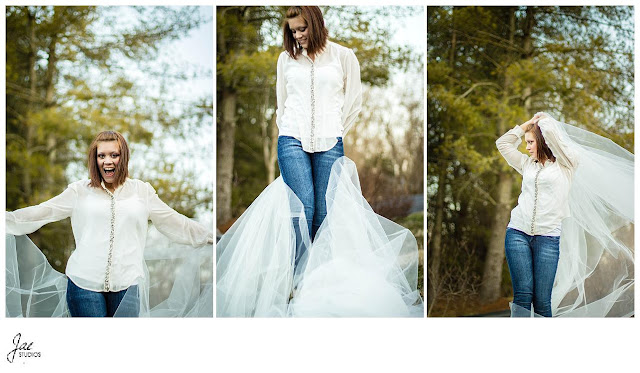 Lynchburg Outdoor Winter Portrait Session White Tulle
