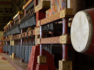 Bells and drum inside Hall for the Worship of Ancestors at Taimiao in Beijing