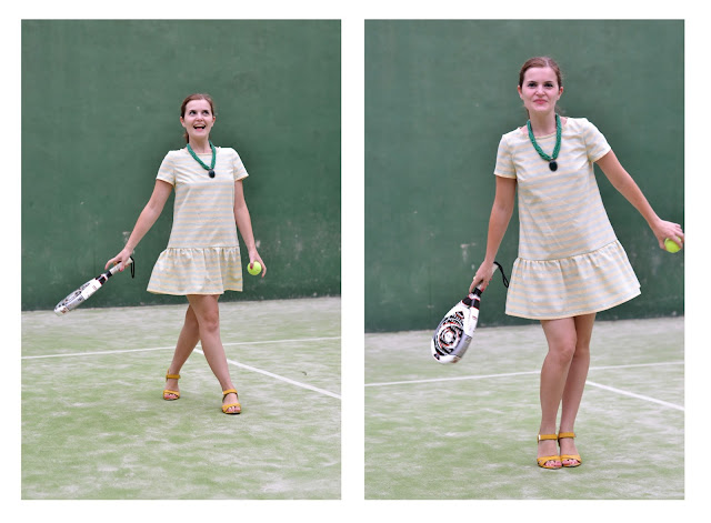 tennis dress, stripes, babydoll, flounce, malvarosa dress