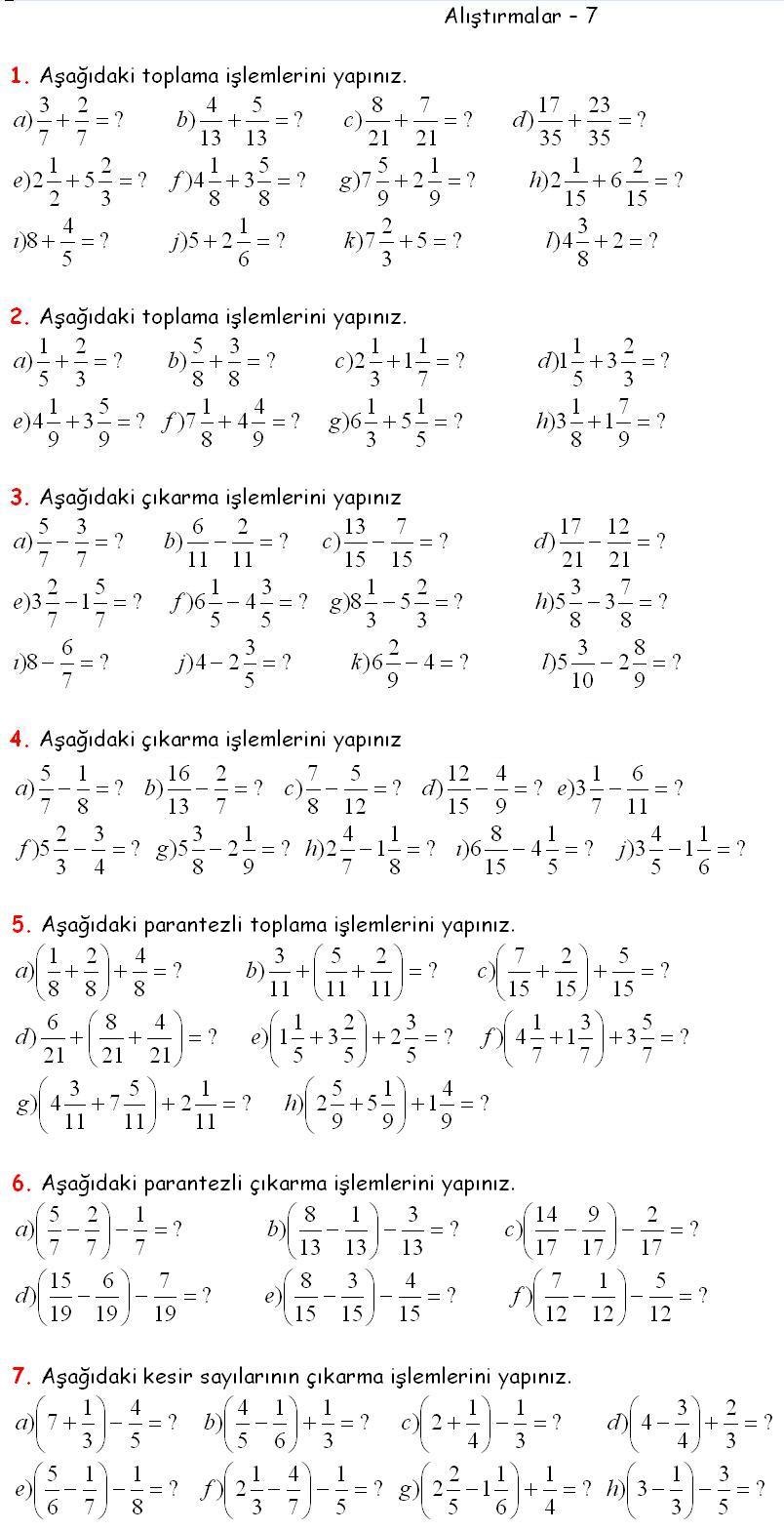 Matematik 5 kesirlerle toplam çıkarma ışlemleri ödevi matematik 5