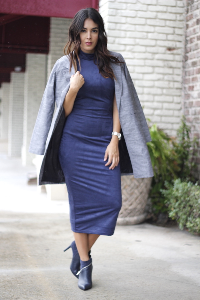 navy midi turtleneck suede dress