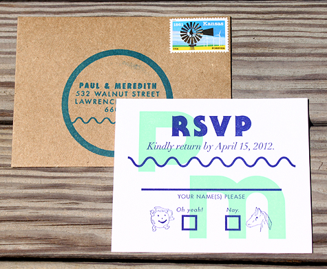 fun RSVP card Jeff McKee and Inkello Letterpress